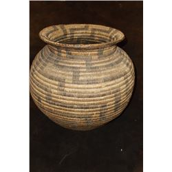"Papago in Olla Form Basket-C. 1920- Constructed of Devils Claw, Yucca and Willow- 13""H X 14""W"
