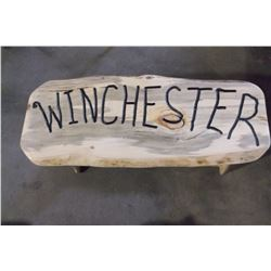 "Hand Made Blue Pine Bench- Winchester 42"" W X 19"" H"