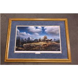 "Signed Terry Redlin Print- "" O' Beautifl for Spacious Skies""- 1990 - 10031/29500- Frame 40"" X 29"""