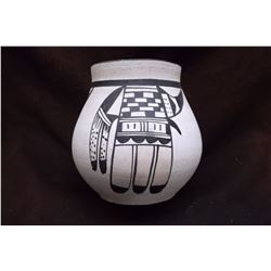 "Hand Painted Indian Pot- Signed FR- 7"" X 7"""