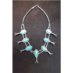 Squash Blossom Necklace- Sterling - Turquoise- 10""
