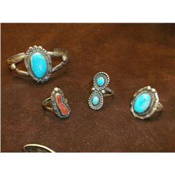 3 Turqoise Rings- 4 Turqoise Bracelets