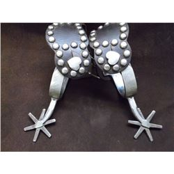 Marked Crockett Silver Overlaid Spurs- Heart Buttons- Arrow Shank- 5 Point Rowels-Dotted Straps