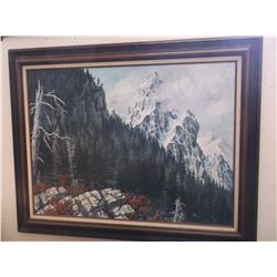 "Unsigned Oil on Canvas- By Stevensville, MT. Artist- 48"" X 38"""