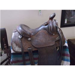 Unmarked Bakersfield Silver Mounted Saddle- Carved Fenders and Stirrup Leathers- Padded Seat
