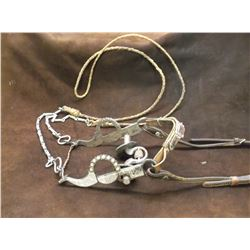 Marked EG Star Silver Inlaid Bit- Santa Barbara Cheek- Frog Mouth- Rein Chains- Braided Rawhide Rein