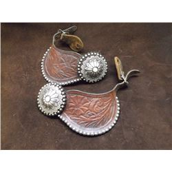 Unmarked Conchos on Dotted and Carved Spur Straps- Sterling- Abalone Centers on Conchos- Scalloped