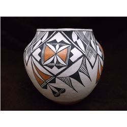 "Acoma Pot- C. 1960- Hand Coiled- Cloud and Rain Pattern- Small Pits- 7.75"" H X 7.75 W"