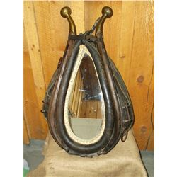 "Horse Collar Mirror- Brass Top Hames- 29""L X 18""W"
