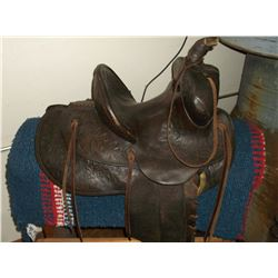 Hamley Saddle- Made 1-15-24- Jim H Ellison Maker- Made for R.G. Rucker of Idaho- #620-5998- Carved