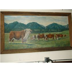 Signed Joe Thornbrugh Original Oil on Canvas-  Hereford Cattle- Bitterroot Valley