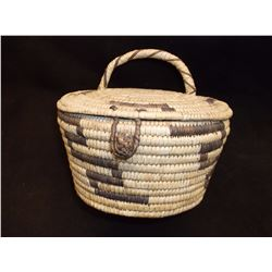 "Vintage Lidded Papago Basket- Devil Claw Pattern- 4.5"" H X 8.5"" W"