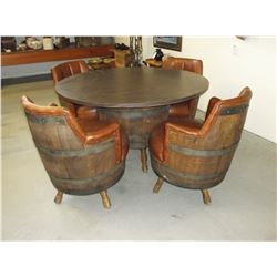 4 Leather Padded Barrel Chair- Round Table With Barrel Base