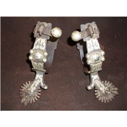 Marked Les Vogt Performax Silver Overlaid Spurs- Chap Guards- Jingle Bobs- 20 Point Rowels