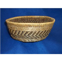 """Pima Basket- C. 1950- Devils Claw, Willow and Bear Grass Constructed- 3.5""""H X 8.5""""W"""