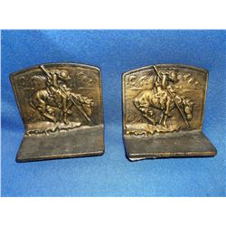 """Unmarked """"Trails End"""" Bookends- Brass 5""""H X 5""""W"""