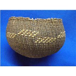 "Reverse Design Twined Acorn Basket- C. 1900- 4.5""H X 6""W"