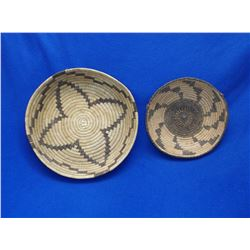 """2 Papago Baskets- C. 1950-1960- 2.5""""H X 12""""W- 2.5""""H X 8.5""""W"""