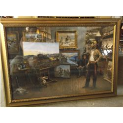 "Signed and Numbered Andy Thomas Print- ""Russell Paints a Masterpiece- 31/95- 29"" H and 41"" W"