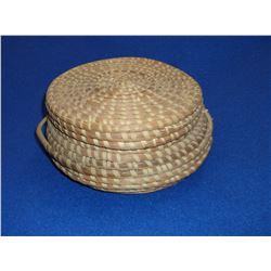 """Lidded Sweet Grass Basket- 3.25""""H X 12.5""""W"""