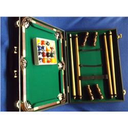 "Portable Salesman Sample Pool Table Set- Table Legs- Cues- Balls- 20""W X 14""D"