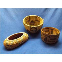 "3 Contemporary Baskets- Hopi- Papago- Southeast- 6""H X 9""W- 4""H X 6.5""W- 3.5""H X 10""L X 6""D"