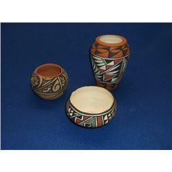 """3 Contemporary Acoma Pots- 6""""H X4""""W- 2.5""""H X 4""""W- 3""""H X 4""""W"""