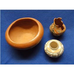 Southwest Pottery Bowl- Jenez Stepped Pottery Bowl- Signed S. Teller Isleta, NM- Jamez Vase- Signed