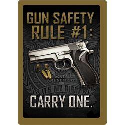 """TIN SIGN 12""""x17"""" """"GUN SAFETY"""""""