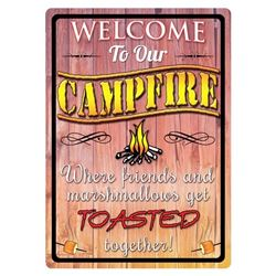 """TIN SIGN 12""""x17"""" """"WELCOME TO OUR CAMPFIRE"""""""