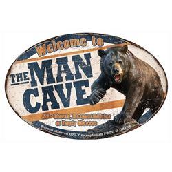 MAN CAVE BEAR TIN SIGN