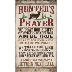 "RUSTIC WOOD LOOK TIN SIGN HUNTER'S PRAYER 8.5""X14"""