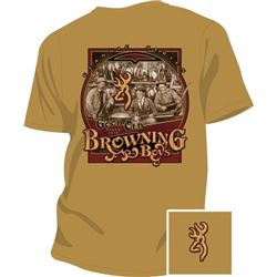 """MEN'S T-SHIRT """"GOOD OLD BOYS"""" SIZE SMALL GOLD WITH BROWNING LOGO"""