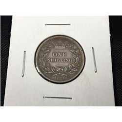 "1871 Queen Victoria British Silver ""Young Head"" Shilling  (Very Fine)"