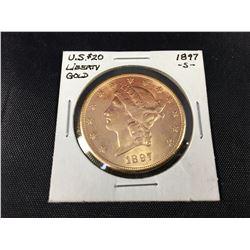 1897s US $20 Liberty Head Gold Coin San Francisco Mint