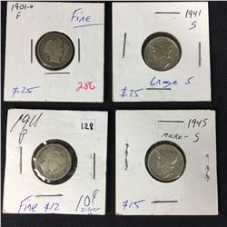 Group of US Silver Dimes - Barber & Mercury Inc. 1945 Micro S