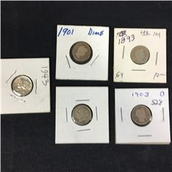 Group of US Silver Dimes - Barber, Mercury & Roosevelt