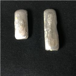 Two Vintage Hand Poured Pure Silver Bars - 30.29 Grams & 42.63 Grams