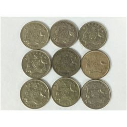 Group of Silver Australian Sixpence Coins Inc. 1940
