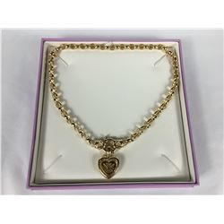 10ct Yellow Gold Diamond Set Bolt Ring Belcher Chain with 10ct Gold Heart Pendant with Diamond (.10c