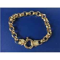 10ct Yellow Gold Diamond Set Bolt Ring Belcher Bracelet