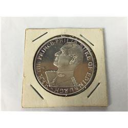 1966 Royal Visit to America Prince Philip Duke Of Edinburgh Silver Medalallion - Sterling silver med