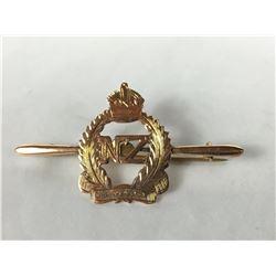 "Antique 9ct Rose Gold ""NZ Onward"" World War I Sweet hearts Brooch"