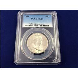 1960 USA Franklin Silver Half Dollar PCGS MS64