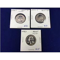Three USA Proof Quarter Dollar Coins Including 1960, 1964 & 1970s