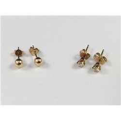 Two Pairs of 14ct Gold Stud Earrings