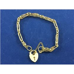 9ct Gold Linked Bracelet with Heart Shaped Locket