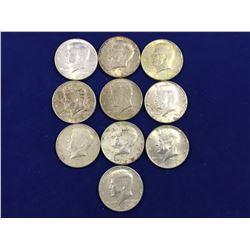 10 x US Kennedy Silver Half Dollars - 1965-1969