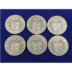 Six New Zealand 1934 Silver Half Crown Coins