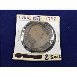 1792 France Louis XVI 2 Sol's Coin